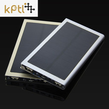 20000mAh Ultra-Thin Matal Solar Power Bank External Battery Pack Dual USB Charger for iPhone iPad Tablet