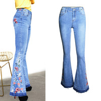 QMGOOD Fashion Embroidery Women Jeans Flare Pants Slim Flared Jeans for Girls Pants for Women Chic Plus Size Jeans Full Length