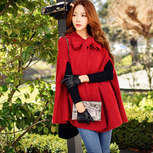 dabuwawa knitted coat female 2017 women's autumn winter new korean fashion temperament bow hooded sweater cloak coats pink doll