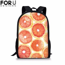 FORUDESIGNS Fruit Print School Bag for Girls Boys Customize Image Black Backpack Kids Children Bookbag Student Mochila Rucksack