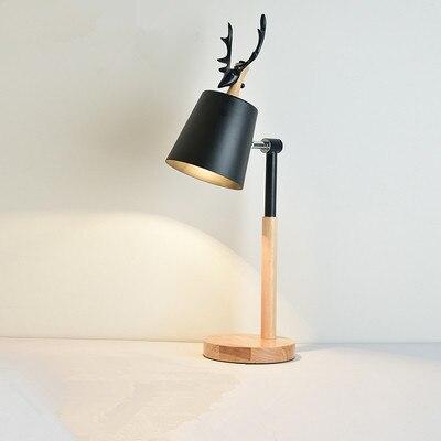 Lampe de Table nordique LED avec abat-jour en métal pour chambre lampes de chevet blanches lampes de bureau noires lampes de lecture en bois Luminaria