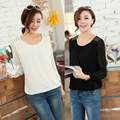Blouse Special Offer Top Fasion Full O-neck Blusas Spring 2014 Chiffon Puff Sleeve Plus Size Shirt Loose Long-sleeve Basic