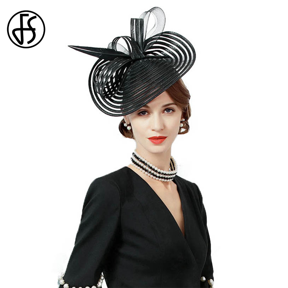 FS Luxury Panama Hat For Women Elegant Spring Fascinators Black Feather Wide Brim Formal Pillbox Royal Cocktail Tea Party Hats