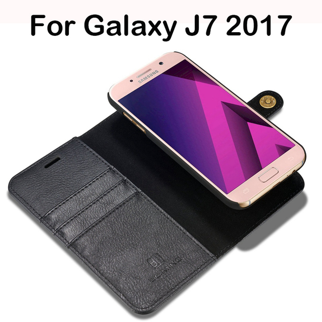 pretty nice 11e85 26d69 US $8.69 40% OFF Magnetic Detachable Leather Case For Samsung Galaxy J7  2017 Case Flip Wallet Luxus Back Cover For Samsung J7 2017 Case Luxury-in  ...