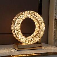 라운드 반지 모양 크리스탈 LED Abajour 크리 에이 티브 침실 장식 책상 램프 골드 실버 lamparas 드 메사