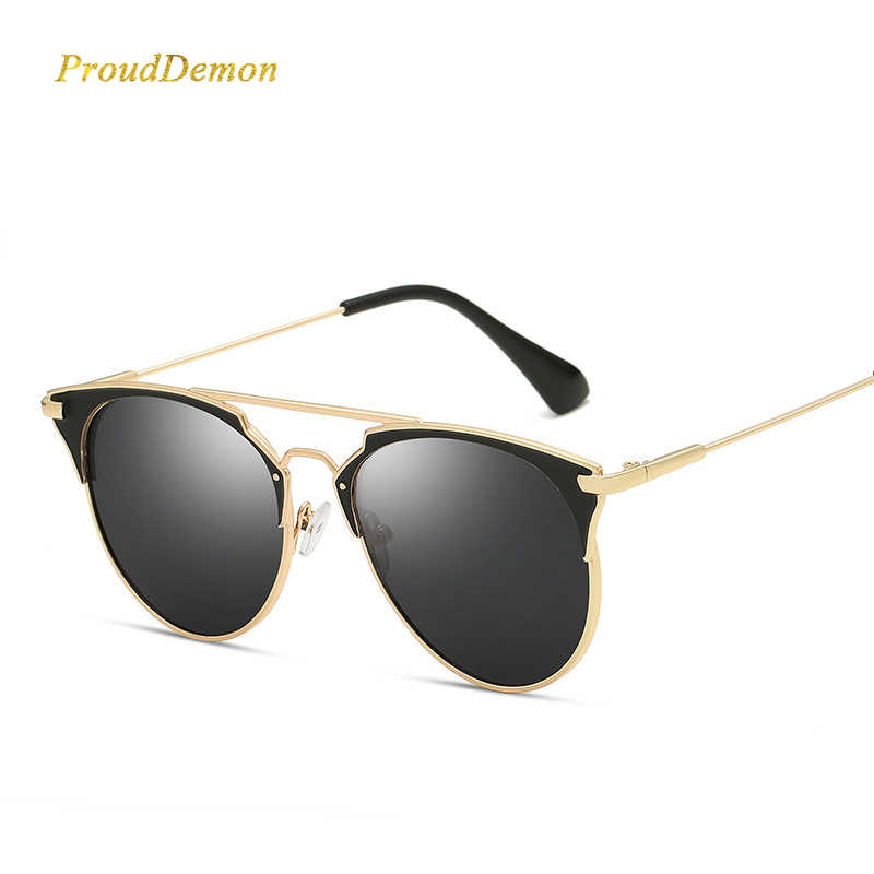925737d39ef3 ... Mirror Rose Gold cat eye Sunglasses Women Round Luxury Brand Female Sun Glasses  Women 2018 Fashion ...