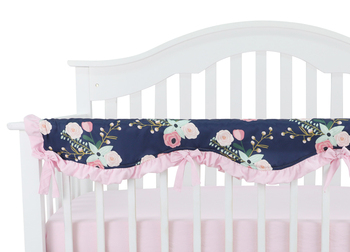 Baby Crib Rail Cover Long Crib Rail Guard Baby Teething Cover Protector Wrap Nursery Bed Rails Cover Wave (Navy Floral)