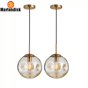 Image 2 - Modern Style Uneven Glass Ball Amber/Grey Graceful Pendant Light E27 Lighting For Dining Room Living Room Showroom Sitting Room