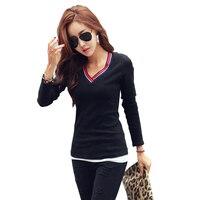 Camisetas Mujer V Pescoço T Shirt Mulheres Tops T-Shirt Listrada 2018 Casual Camiseta Femme Preto Manga Comprida Coreano Moda roupas