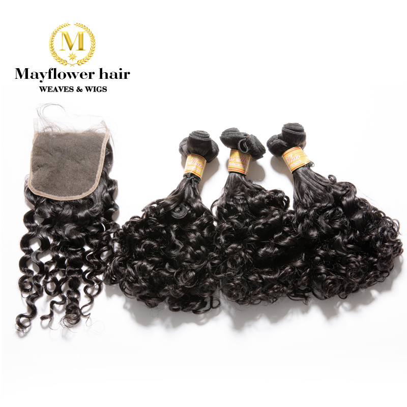 """MFH Funmi Hair Amazing Curl 2/3/4 Bundles With 4x4"""" Closure Natural Black Double Drawn Remy Hair 8-18"""" Mixed Free Shipping"""