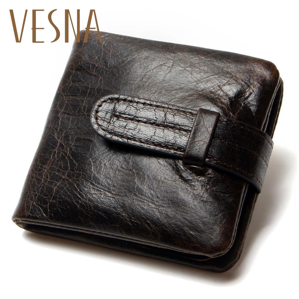 Luxury Vintage Casual 100% Real Genuine Cowhide Oil Wax Leather Men Short Bifold Wallet Wallets Purse Coin Pocket Male Zipper стоимость