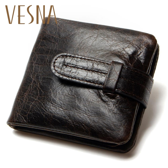 a824ec1123c2 Luxury Vintage Casual 100% Real Genuine Cowhide Oil Wax Leather Men Short  Bifold Wallet Wallets Purse Coin Pocket Male Zipper
