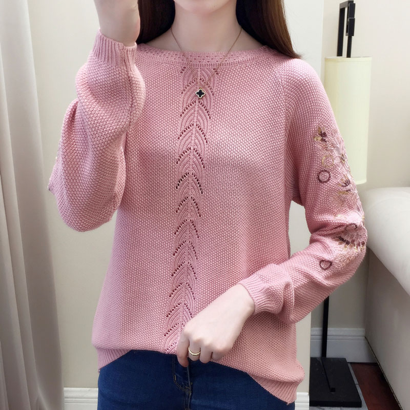 2019 Autumn Knitted Female Knitted Pullover Tops Fashion Women Korea Jumper O-Neck Thin Female Sweaters Casual Women White Tops