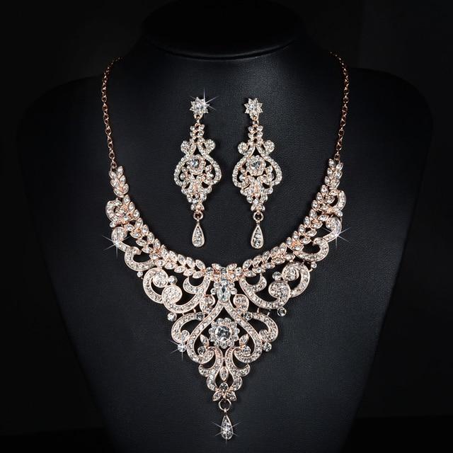 Gorgeous Rose Gold Rhinestones Crystals Wedding Jewelry Set Bridal