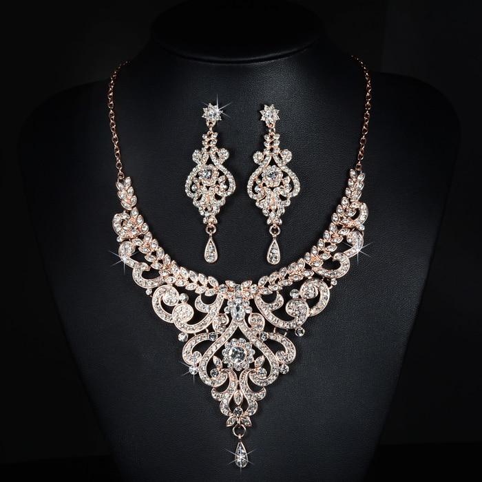 SLBRIDAL Crystal Rhinestones Gold Rose