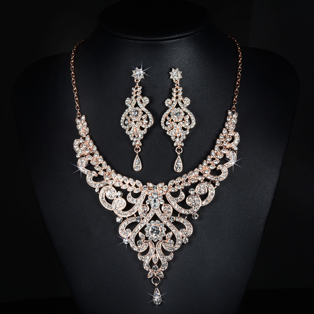 Stunning Rose Gold Rhinestones Crystals Pearls Wedding Jewelry Set Bridal Necklace Earrings Set Party Jewelry Sets