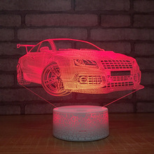 Sports Car 3d Night Light Creative Touch Colorful Led 3d Light Fixtures Intelligent Usb Power Remote Control Light