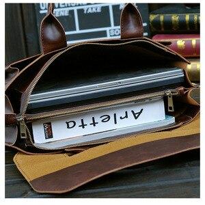Image 4 - 2020 gorąca walizka biznesowa torba męska szalona końska skóra przekrój torebka męska torba na ramię torba na komputer