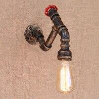 2 stil Art deco schwarz metall vintage Wasser rohr nacht wand lampen mit led/edison e27 lichter für cafe loft bar wohnzimmer