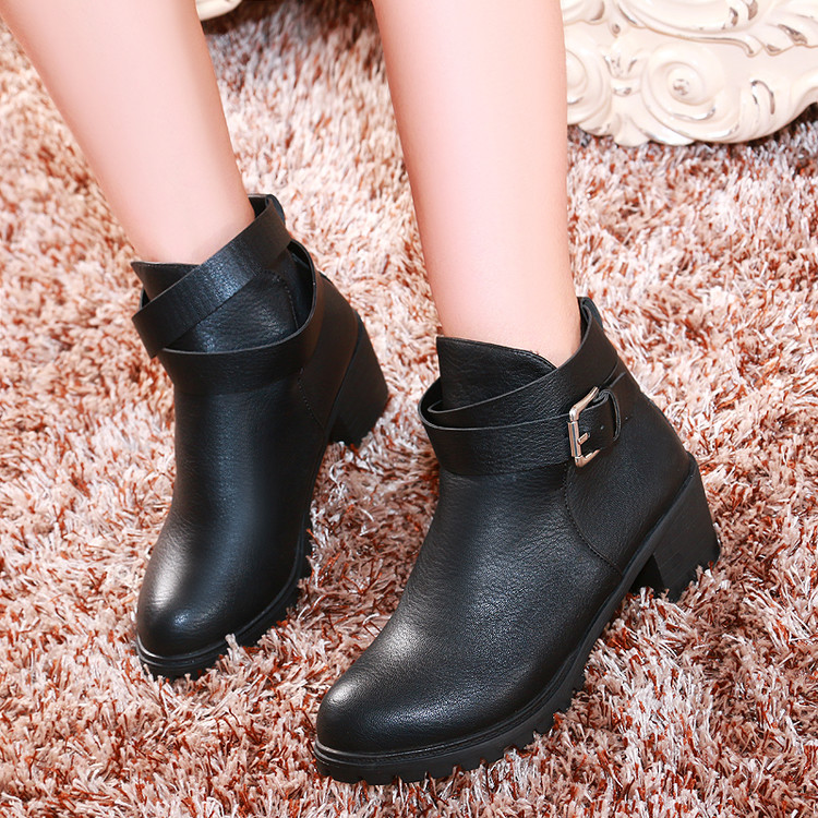 ФОТО Buckle thick heel high-heeled shoes boots 40 41 42 43 plus size boots shoes free shipping