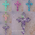 Free shipping Green,Red,Blue,Pink,Purple Ocean Jasper Bead Cross Pendant Jewelry
