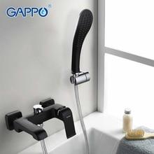 GAPPO Высокое Качество лакированный черный смеситель для ванны s настенный дождь Душевая Головка товарная полка ванной кран Ванная комната смесители для ванной