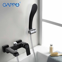 GAPPO High Quality Lacquered Black bathtub faucets Wall Mounted with Handheld Shower bathtub faucet Bathroom mixer taps Bath