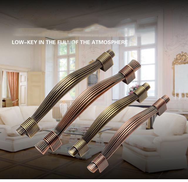 Único hole / 96 mm / 128 mm vermelho cobre ou Antique Brass liga de zinco cozinha móveis gabinete puxador de quarto gaveta puxa HM55