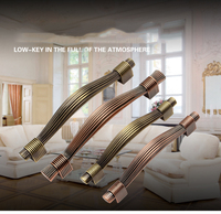 Single Hole 96mm 128mm Red Copper Or Antique Brass Zinc Alloy Kitchen Furniture Cabinet Handle Bedroom