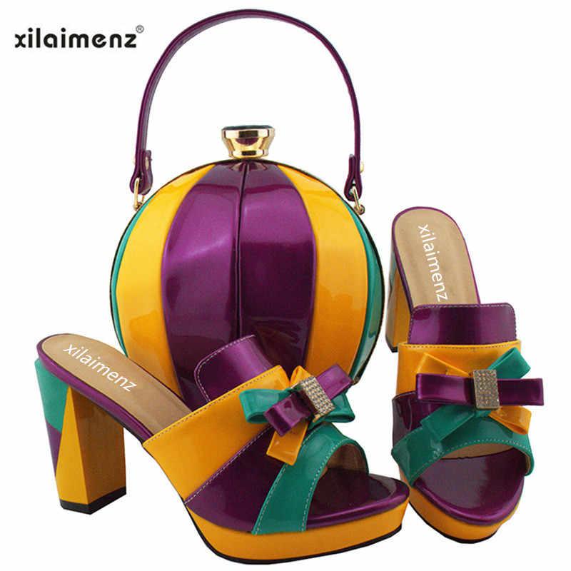 Наш магазин открылся недавно 40% скидка новое поступление фиолетового цвета; элегантные женские Обувь на высоком каблуке сандалии обувь вечерняя сумка, набор подходящей для платья