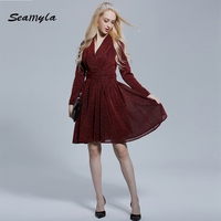 New Elegant Mini Evening Party Dresses Sexy V Neck Long Sleeve Women Celebrity Runway Dress Red
