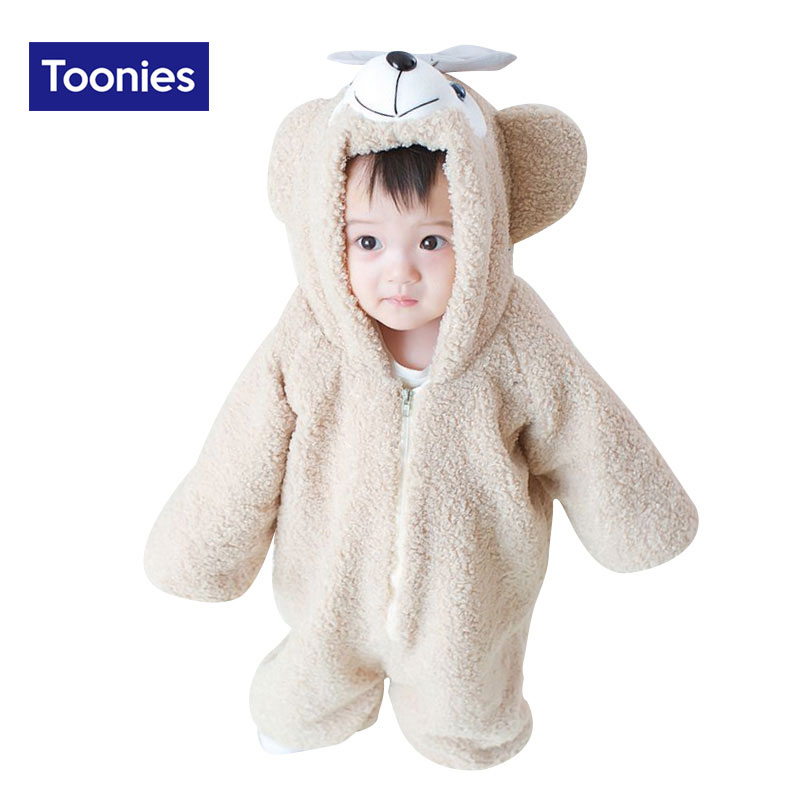 0-3 T Infant Newborn Baby Boy Girl Clothing Winter New Cute Cartoon Bear Rompers Long Sleeve Hooded Snowsuit Jumpsuit Clothes