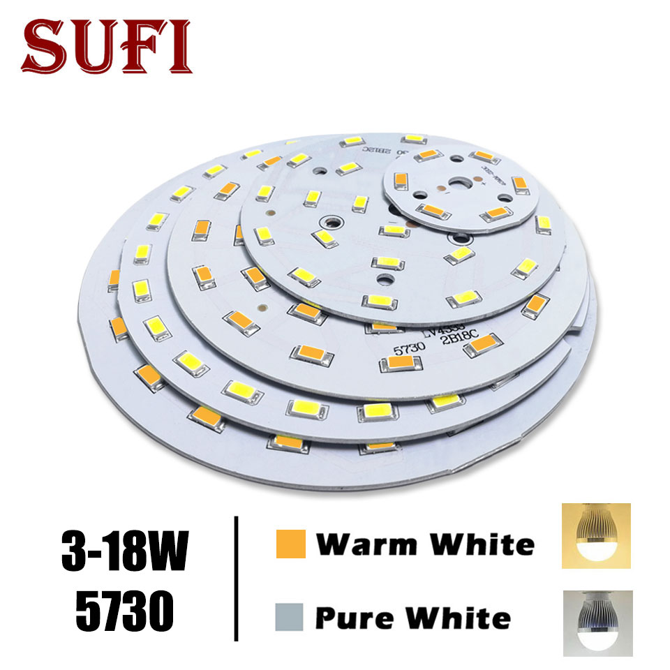 Free Shipping 3W 5W 7W 9W 12W 18W5730 Brightness SMD Light Board Lamp Panel For 3 5 7 9 12 18W LED Bulb Ceiling PCB With LED