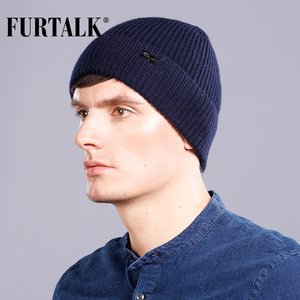 Image 2 - FURTALK Wool Cashmere Men Winter Hat Man Knitted Beanie Skullies Warm Winter Male Beanie Cap Black Grey