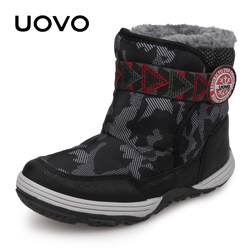 Winter Boots Kids UOVO 2019 New Arrival Warm Shoes Fashion Winter Plush Boots Boys And Girls Snow Boots Size #28-36