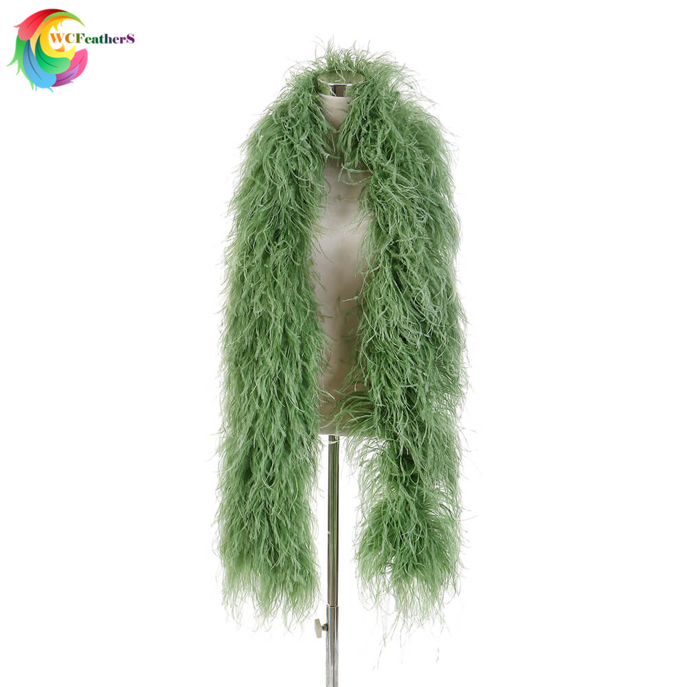 High quality 10ply Encrypted Olive green Ostrich feather shawl Width 28-30cm Ostrich feather boa Wedding Dancer decoration