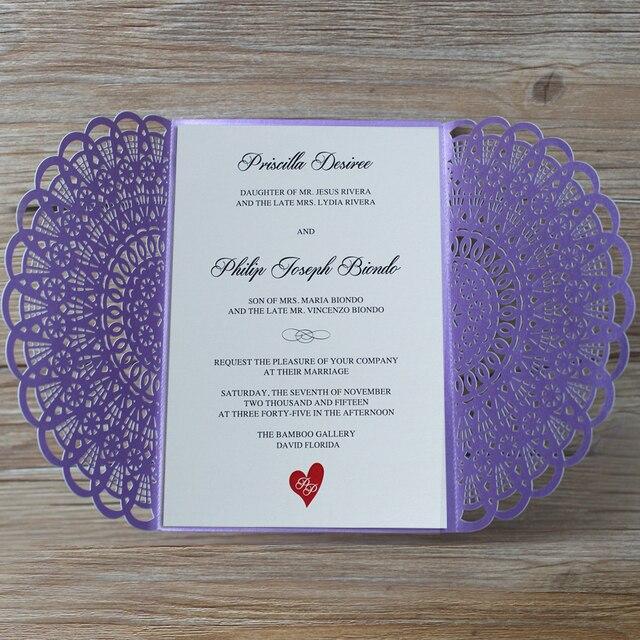 Elegant Purple Wedding Invitations Customized Invitation Cards With