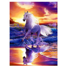 5D DIY diamond painting animal white horse embroidery cross stitch full round rhinestone home decoration