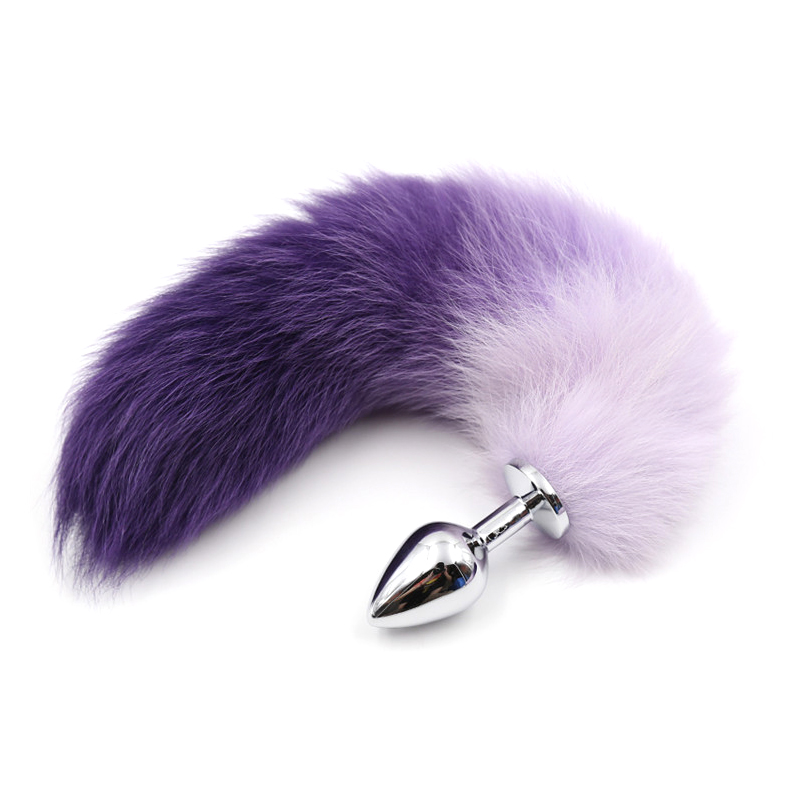 Metal Anal Plug Gradient Color Fox Tail Anal Toys BDSM Enslaved Sex Toys Cosplay Animal Tail Women Men Couple's Exotic Toys WB4