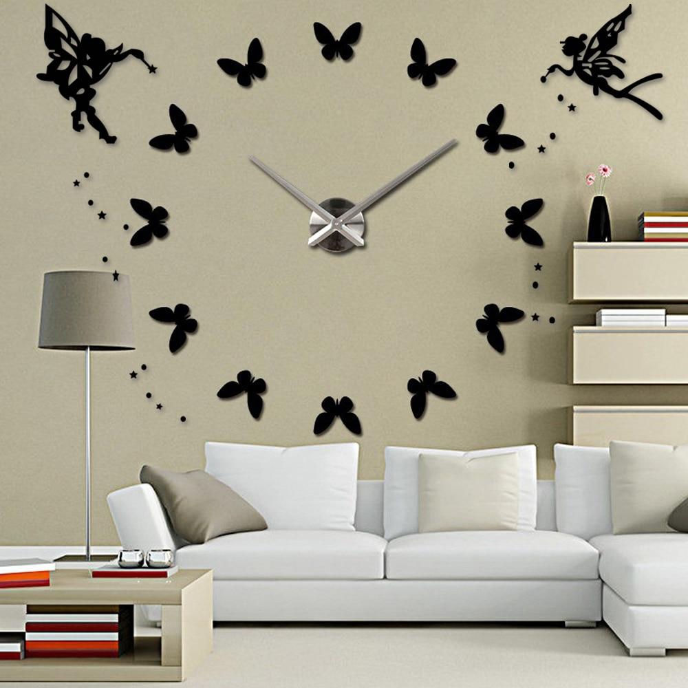Anděl 3D DIY Velké nástěnné hodiny Moderní design Velké hodiny do obývacího pokoje Akrylové zrcadlo Samolepící samolepky na zeď Home Decor