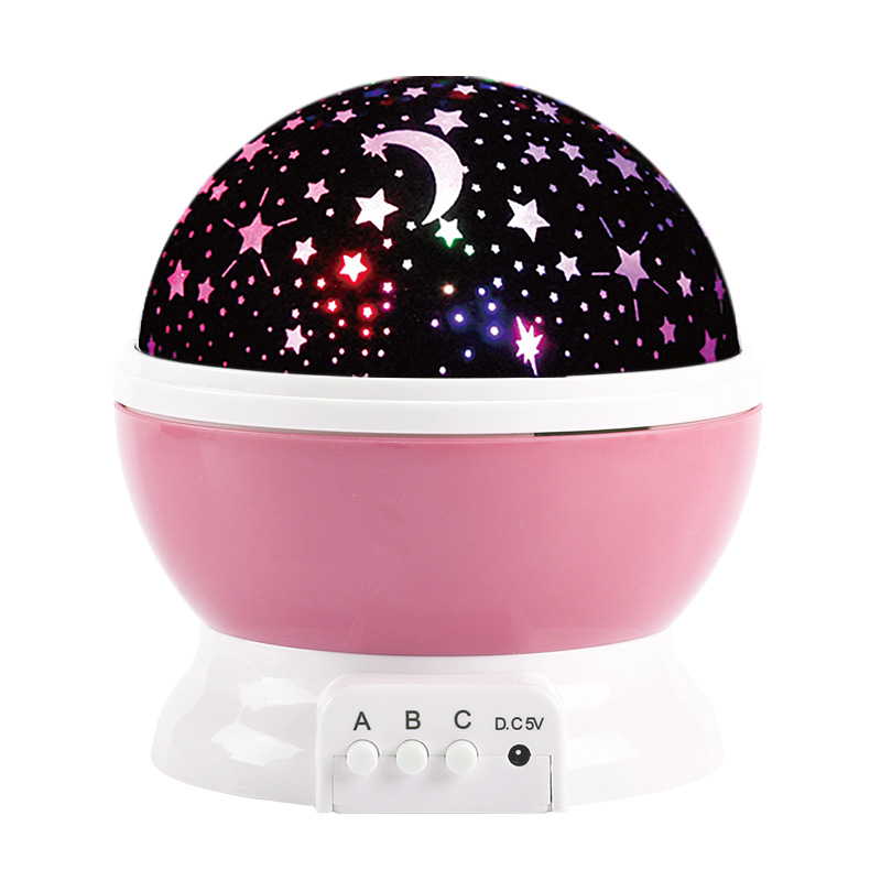LED Star Projector Novelty Moon Sky Rotation Kids Night Light Battery Operated