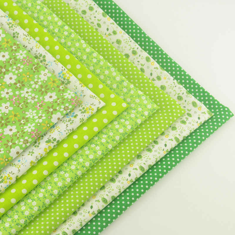 Booksew 100% Cotton Fabric 7pcs/lot Green Theme Lovely Floral and Dots Style Quilting Cloth Patchwork Crafts Sewing Doll