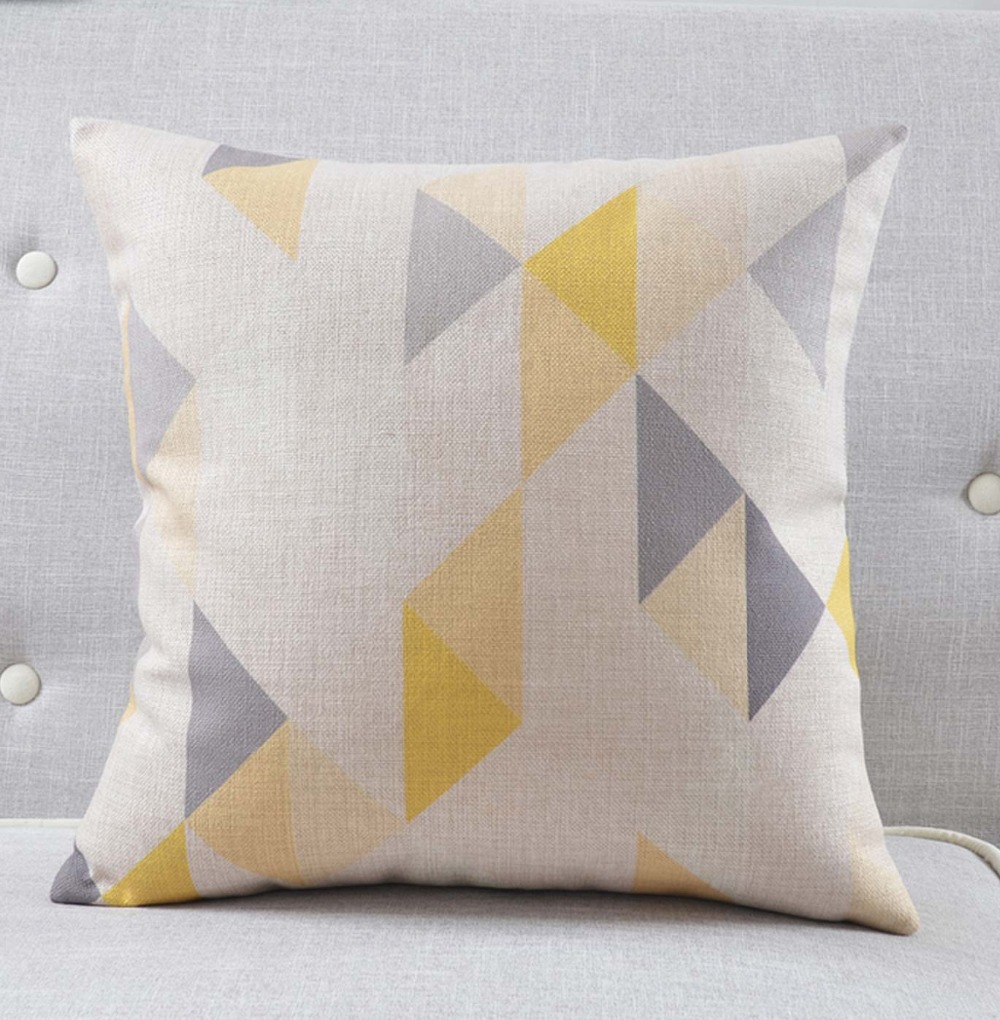 Yellow grey geometric pillows/almofadas modern nordic decorative ...