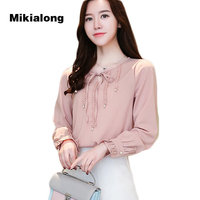 Mikialong 2017 Elegant Bow Tie Chiffon Blouse Women Causal Long Sleeve Tops Formal Wear To Work Ladies Office Shirt Blusa Mujer