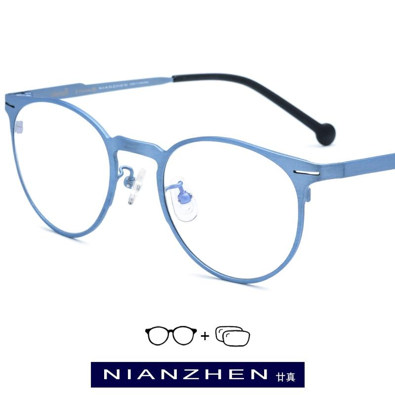 Pure Titanium Eyeglasses Frame Women Vintage Round Myopia Optical Frames Prescription Glasses for Men Spectacles Eyewear