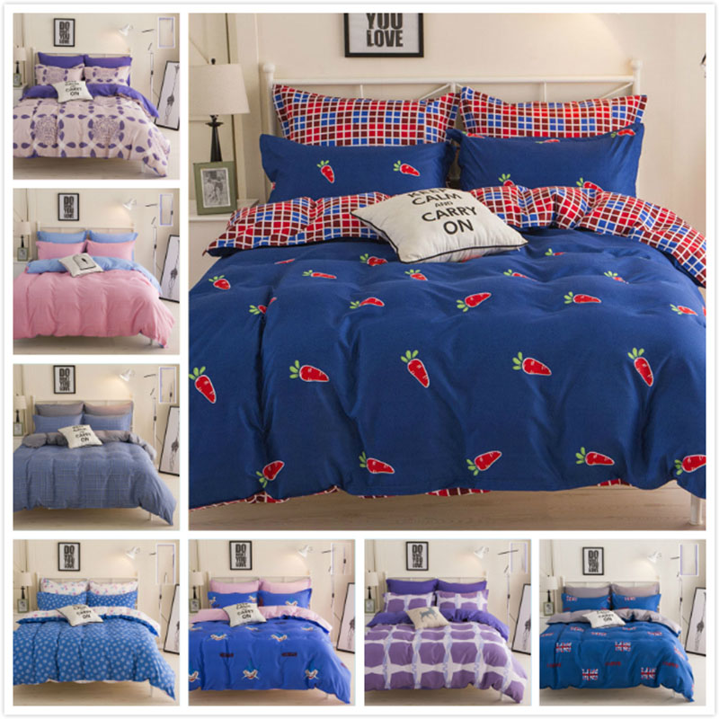 Flower Stripe Plaid Duvet Covers 4pcs Winter Cotton Full King Queen Twin Double Size Bed Sheet 1.5m 1.8m 2m Bedding Set Bedlinen