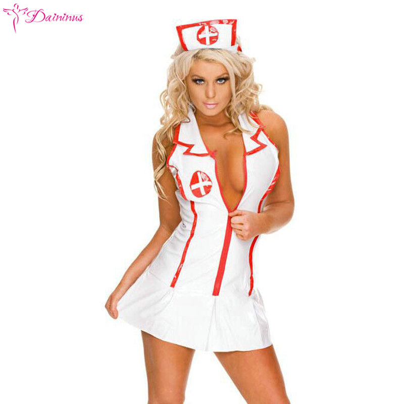 2018 Sexy Lingerie Roleplay Fancy Hot Bedroom Nurse Costume Nurse Outfit Dress& Hat Sexy Costumes Fashion Clothing