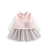 0 3 Ages 2017 Spring Autumn Fashion Floral Pocket Lace Ball Gown Kid Children Baby Girl