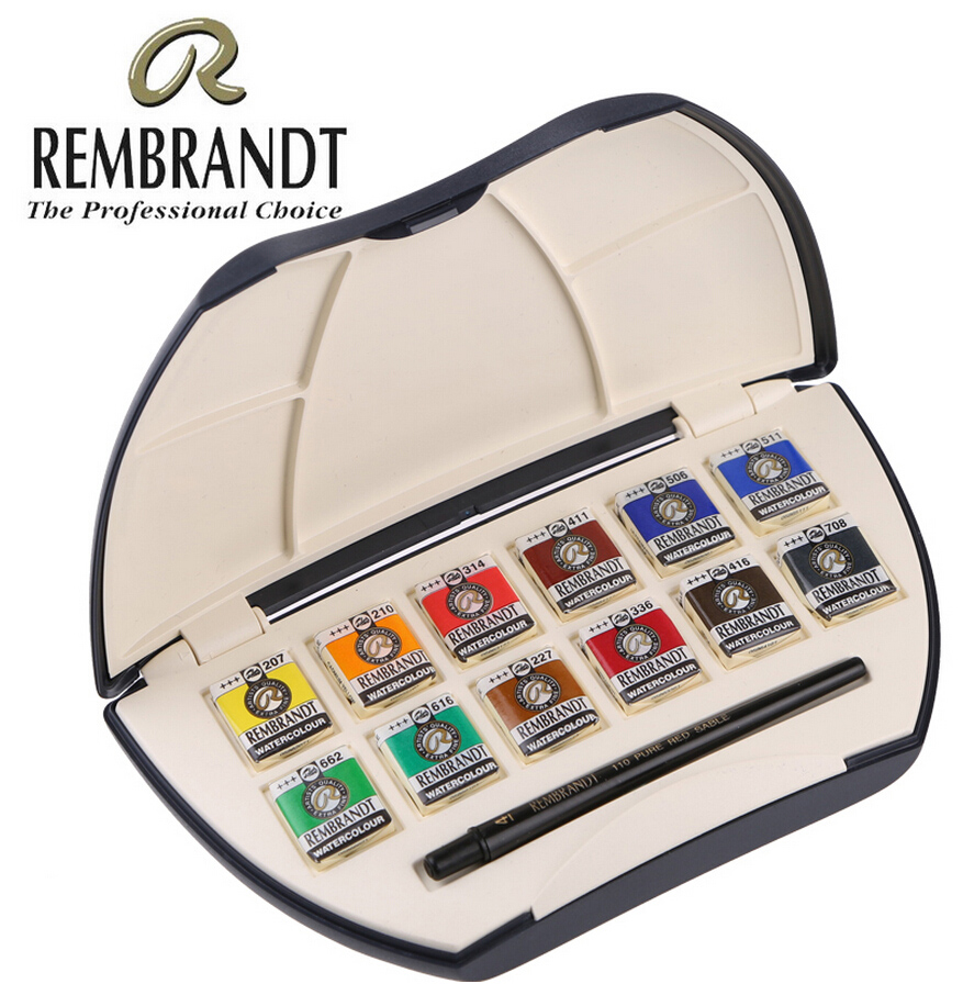 Free shipping REMBRANDT 12 color solid watercolor pigment Artist collection Edition Gift Box suit free shipping 200g bag gardenia black color pigment