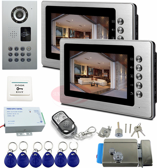 IP65 Apartments Intercom Rfid Door Intercom Camera Video Door Phone System With Electronic Lock And Wireless Remote Control Kit